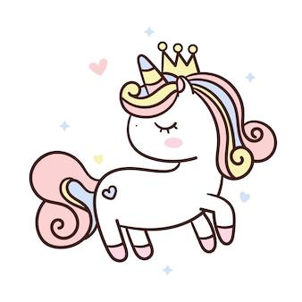 Leuke eenhoorn die prinseskroon draagt