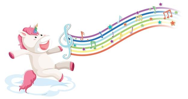 Leuke eenhoorn die zich op de wolk bevindt met melodiesymbolen op regenboog
