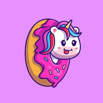 Leuke eenhoorn donut cartoon afbeelding. flat cartoon stijl