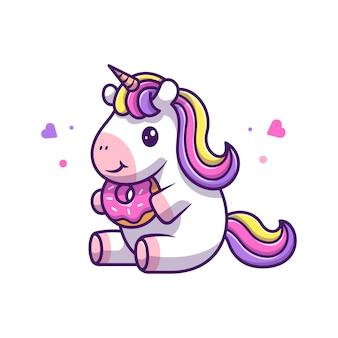 Leuke eenhoorn eet dessert pictogram illustratie. unicorn mascotte stripfiguur. animal icon concept wit geïsoleerd