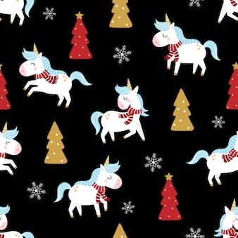 Leuke eenhoorn en kerstboom naadloze patroon.