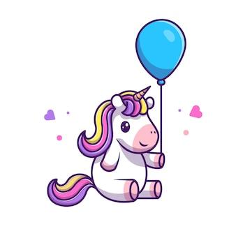Leuke eenhoorn houden ballon pictogram illustratie. unicorn mascotte stripfiguur. animal icon concept wit geïsoleerd