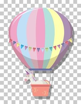 Leuke eenhoorn in de hete luchtballon van de regenboogpastelkleur die op transparante achtergrond wordt geïsoleerd