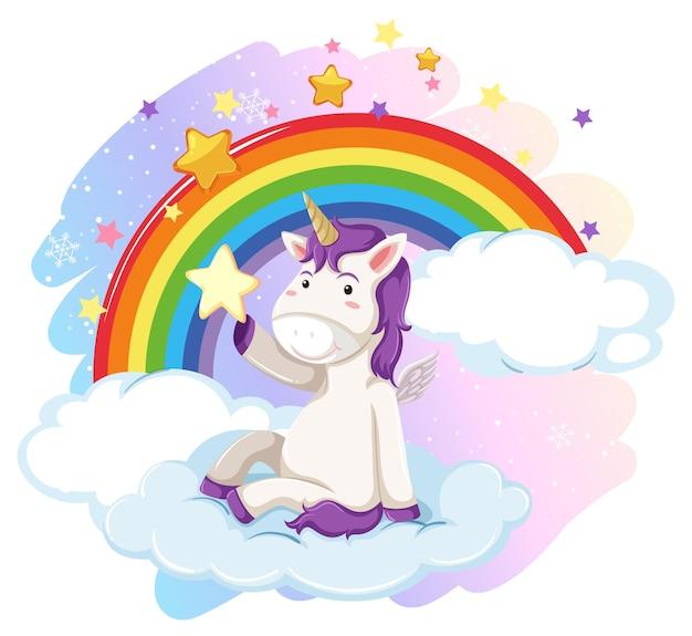 Leuke eenhoorn in de pastelkleurige lucht met regenboog