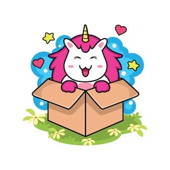 Leuke eenhoorn in doos met liefde