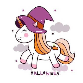 Leuke eenhoorn in halloween-themafeest op hemel
