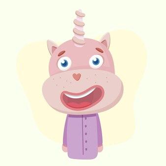 Leuke eenhoorn in pyjama. illustratie voor de kinderkamer.