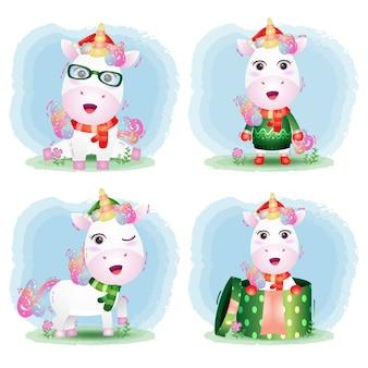 Leuke eenhoorn-kerstkarakterscollectie met een hoed, jas, sjaal en geschenkdoos