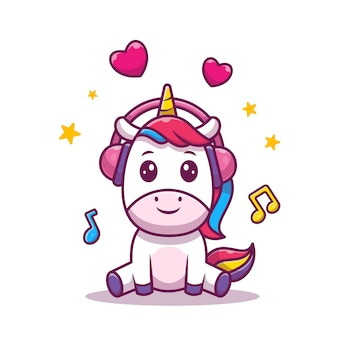 Leuke eenhoorn luisteren muziek vectorillustratie. eenhoorn met muziek en liefde