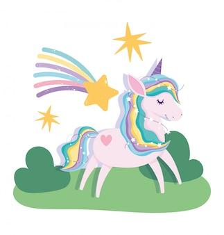 Leuke eenhoorn magische fantasie cartoon vallende sterren regenboog landschap