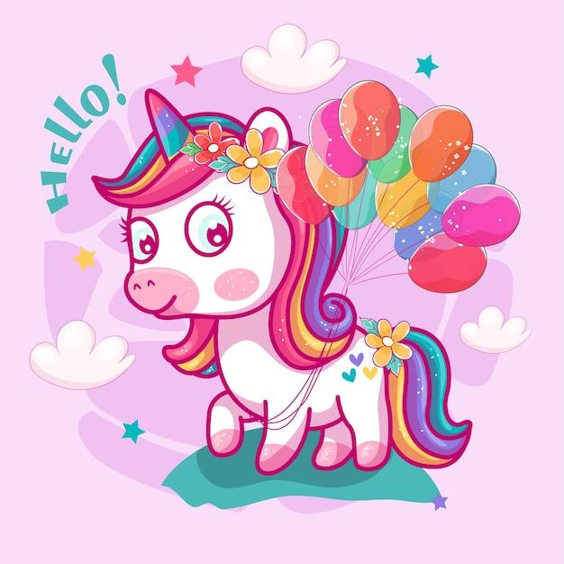 Leuke eenhoorn met ballonnen en roze achtergrond