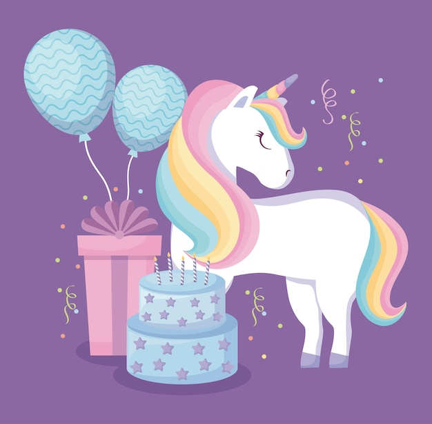 Leuke eenhoorn met ballonnen helium en set pictogrammen