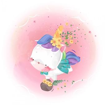 Leuke eenhoorn met bloem in de lucht.