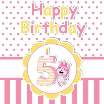 Leuke eenhoorn met kaars op bloemframe vector cartoon, verjaardagskaart, behang en wenskaart, t-shirtontwerp voor kinderen