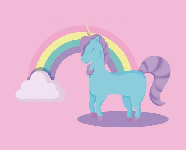 Leuke eenhoorn met regenboog van sprookje