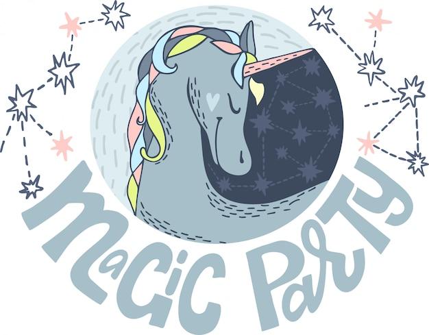 Leuke eenhoorn met sterrenillustratie voor partij. magisch feest. belettering. leuke vector verjaardagskaarten met eenhoorns.