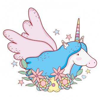 Leuke eenhoorn met vleugels en sterren met bloemen
