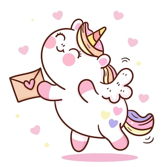 Leuke eenhoorn mollige pegasus cartoon met liefdesbrief voor valentijnsdag