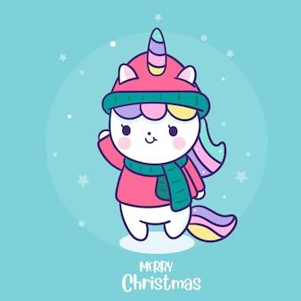 Leuke eenhoorn orn kerstmis