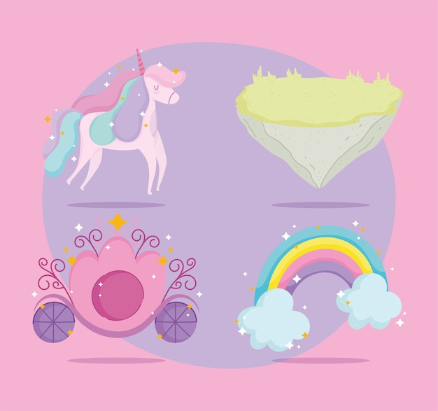 Leuke eenhoorn regenboog prinses vervoer en grond pictogrammen
