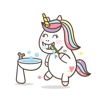 Leuke eenhoorn tanden poetsen cartoon