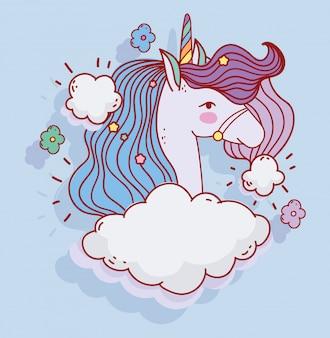 Leuke eenhoorn wolken hemel fantasie magische cartoon