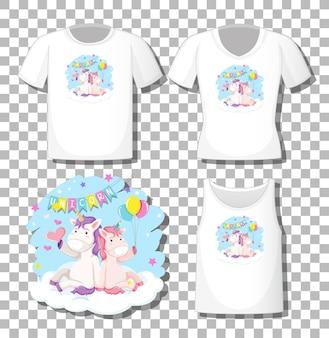 Leuke eenhoorn zit op de wolk stripfiguur met set van verschillende shirts geïsoleerd op transparante achtergrond