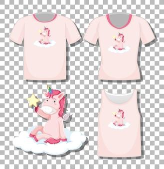 Leuke eenhoorn zit op de wolk stripfiguur met set van verschillende shirts geïsoleerd