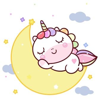 Leuke eenhoorn zoete droom op de maan