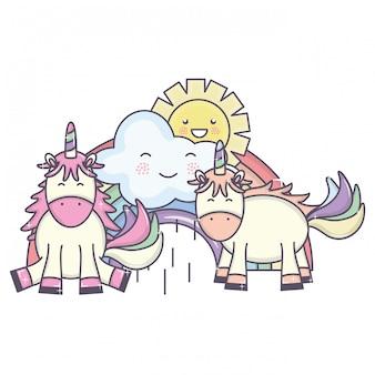 Leuke eenhoorns in regenboog met wolken en zon kawaiikarakters