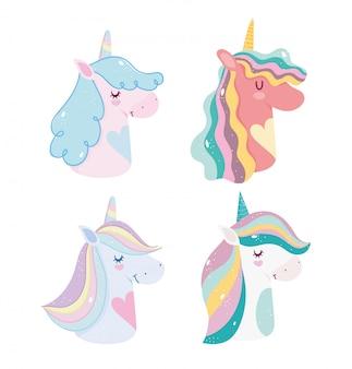 Leuke eenhoorns magische fantasie cartoon regenboog hoorns manen portret pictogrammen