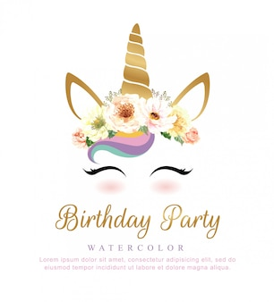 Leuke eenhoornwaterverf met bloemboeket voor verjaardagspartij.