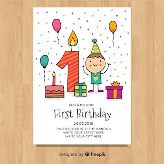 Leuke eerste verjaardagskaart sjabloon