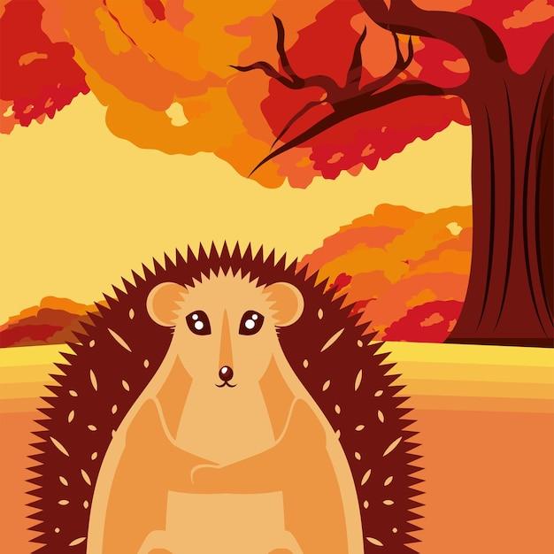 Leuke egel in herfstbos
