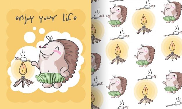 Leuke egel tribal naadloze patroon illustratie voor kinderen