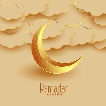 Leuke eid maan en wolken ramadan kareem groet