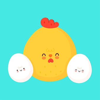 Leuke eieren en kip illustratie pictogram ontwerp
