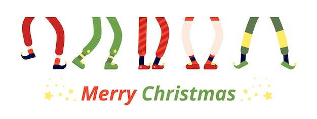 Leuke elf voeten. leprechaun benen, dansende elfjes in schoenen. verschillende dwergkousvoetlaars, grappige vakantiekerstmis die vectorbanner vieren. cartoon kabouter en elf voeten, kerst illustratie