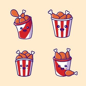 Leuke emmer gebakken kip collectie cartoon vectorillustratie. fast food concept geïsoleerde vector. platte cartoon stijl