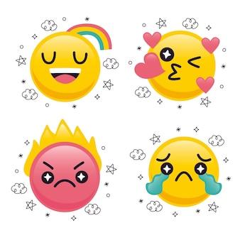 Leuke emoji-collectie met plat ontwerp