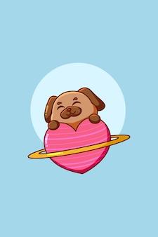 Leuke en gelukkige hond met hart planeet dier cartoon illustratie