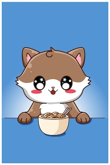 Leuke en gelukkige kat die een illustratie van het noedelbeeldverhaal eet