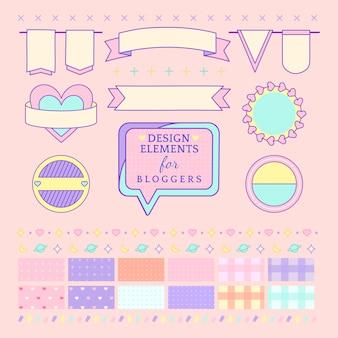 Leuke en girly ontwerpelementen voor bloggersvector
