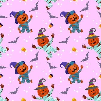 Leuke en grappige halloween-pompoen met vleermuis naadloos patroon.