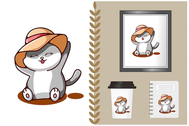 Leuke en grappige kat met hoed cartoon afbeelding