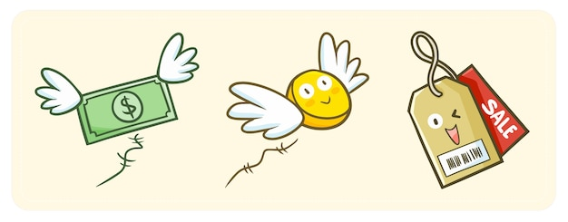Leuke en grappige kawaiiverkooplabel die gelukkig lachen, en vliegend geld met vleugel.