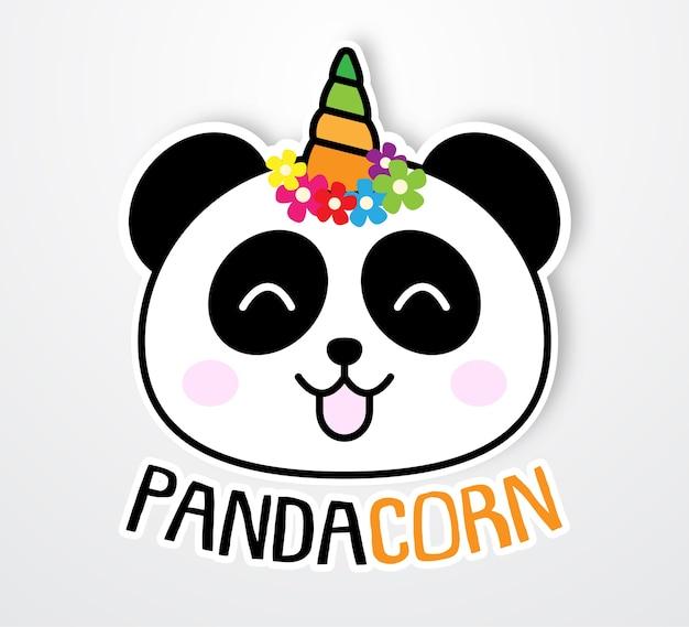 Leuke en grappige pandacorn sticker sjabloon