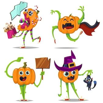 Leuke en grappige pompoenen met verschillende emoties vector cartoon tekenset geïsoleerd op een witte achtergrond. vakantieillustratie voor halloween.