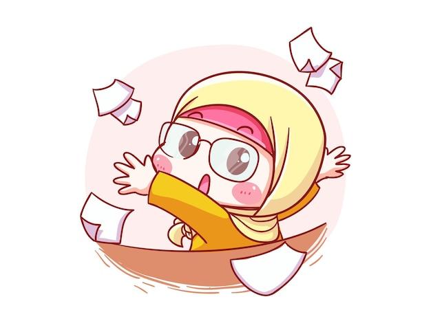 Leuke en kawaii carrière hijab vrouw word moe van het werk en gooi papier manga chibi illustratie
