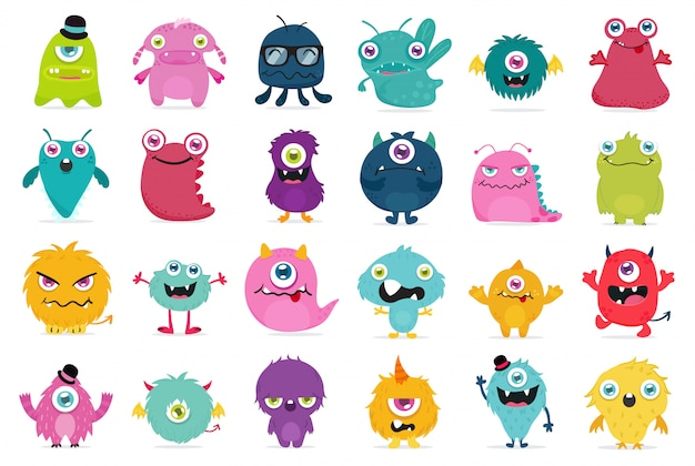 Leuke en kawaii monster vector set